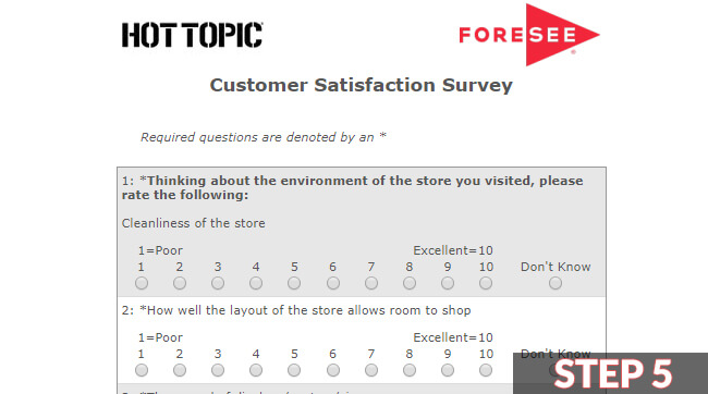 hot topic survey guide screenshot