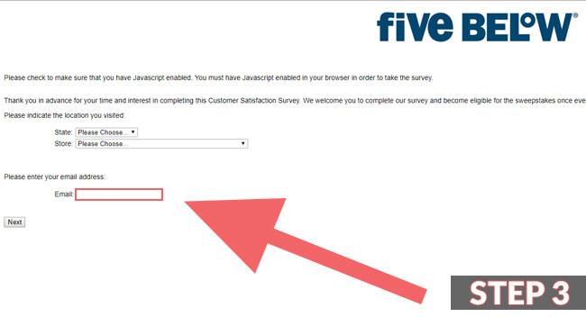 five below survey screenshot